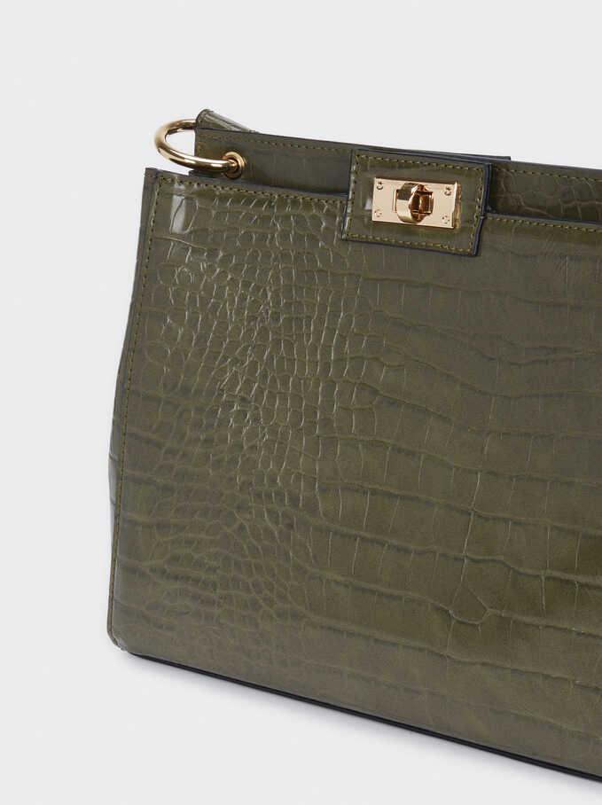 Animal Embossed Crossbody Bag, Khaki, hi-res