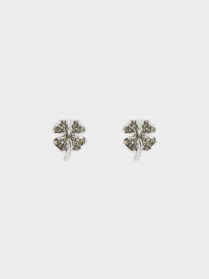 Small Clover Earrings, Silver, hi-res