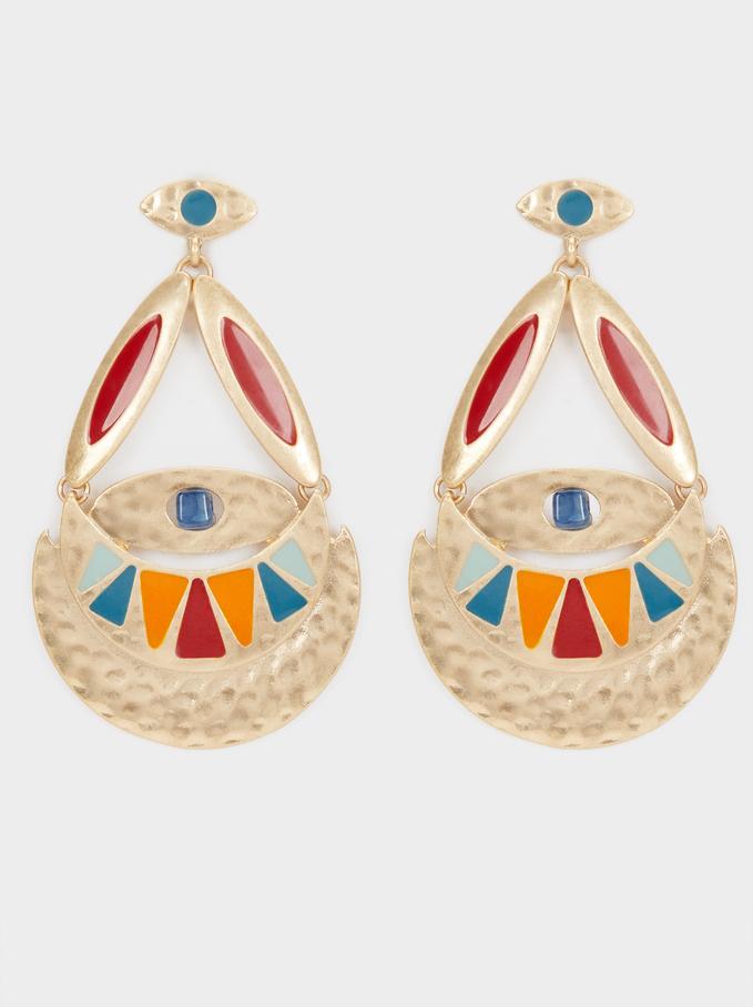 Long Gold Metal Earrings, Multicolor, hi-res