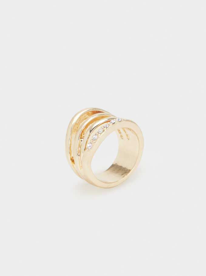 Gold Ring With Rhinestones, Golden, hi-res