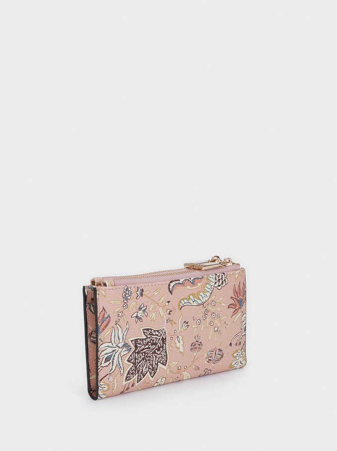 Floral Print Purse, Pink, hi-res