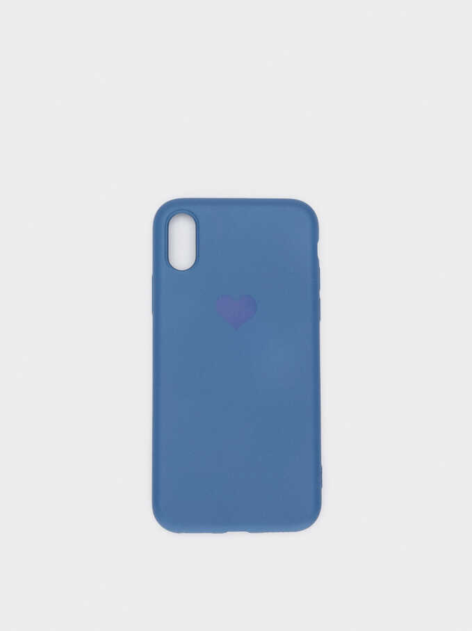 Phone Case With A Heart For Iphone X/Xs, Blue, hi-res
