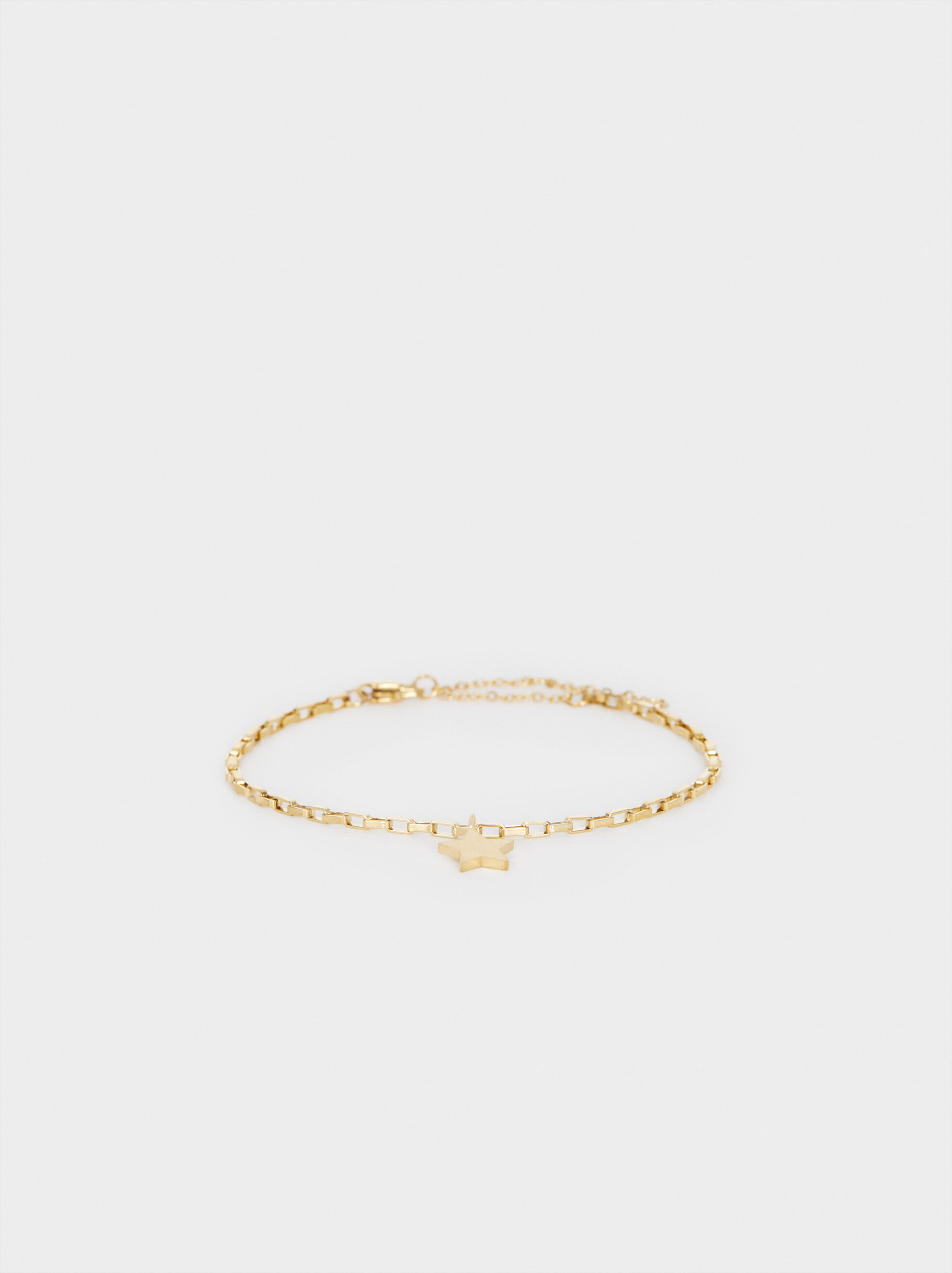 Gold-Toned Steel Bracelet With Star Charm, , hi-res