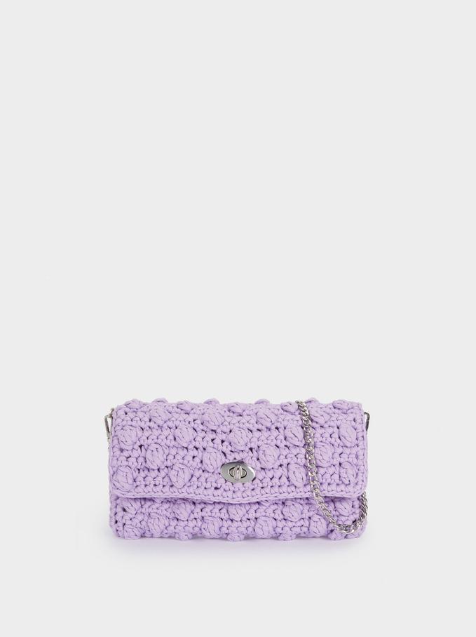 Crochet Shoulder Bag, Purple, hi-res