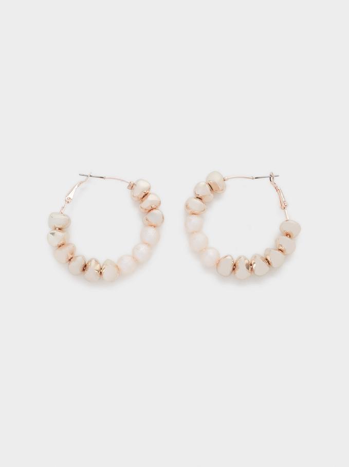 Pink Desert Medium Hoop Earrings With Beading, Orange, hi-res