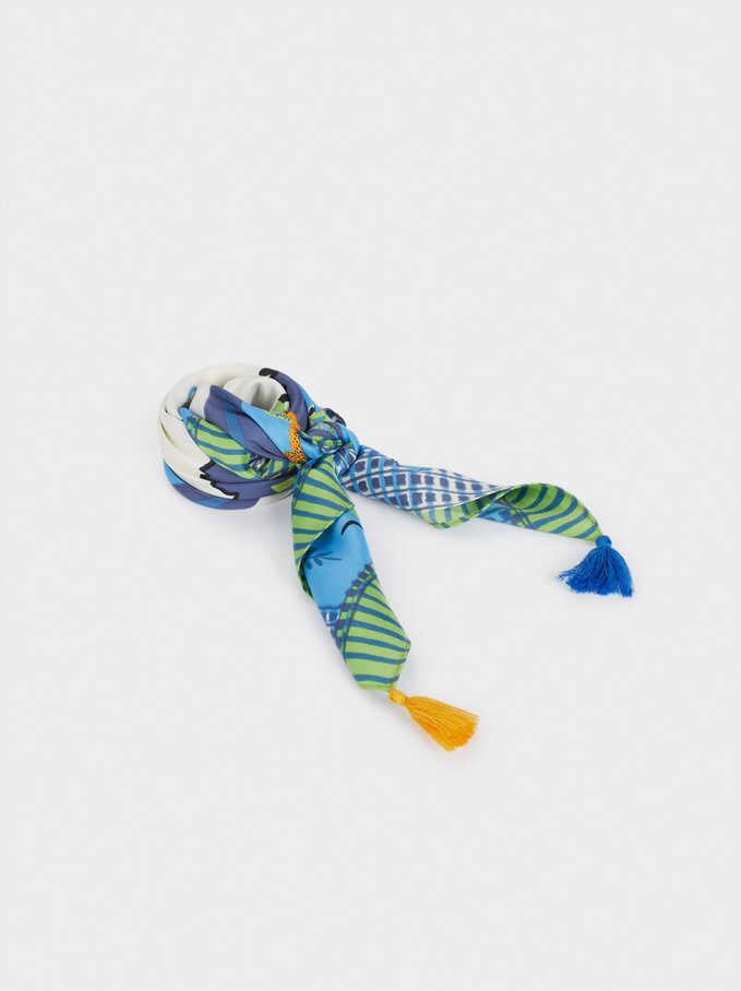 Pañuelo Cuadrado Estampado Borlas, Azul, hi-res