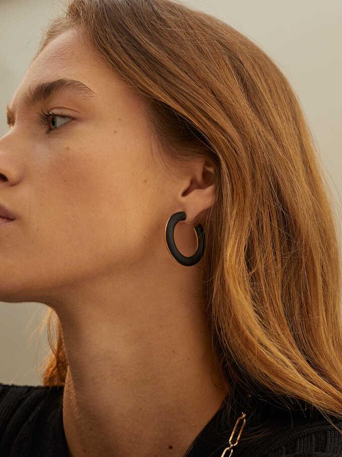 Black Hoop Earrings, Black, hi-res