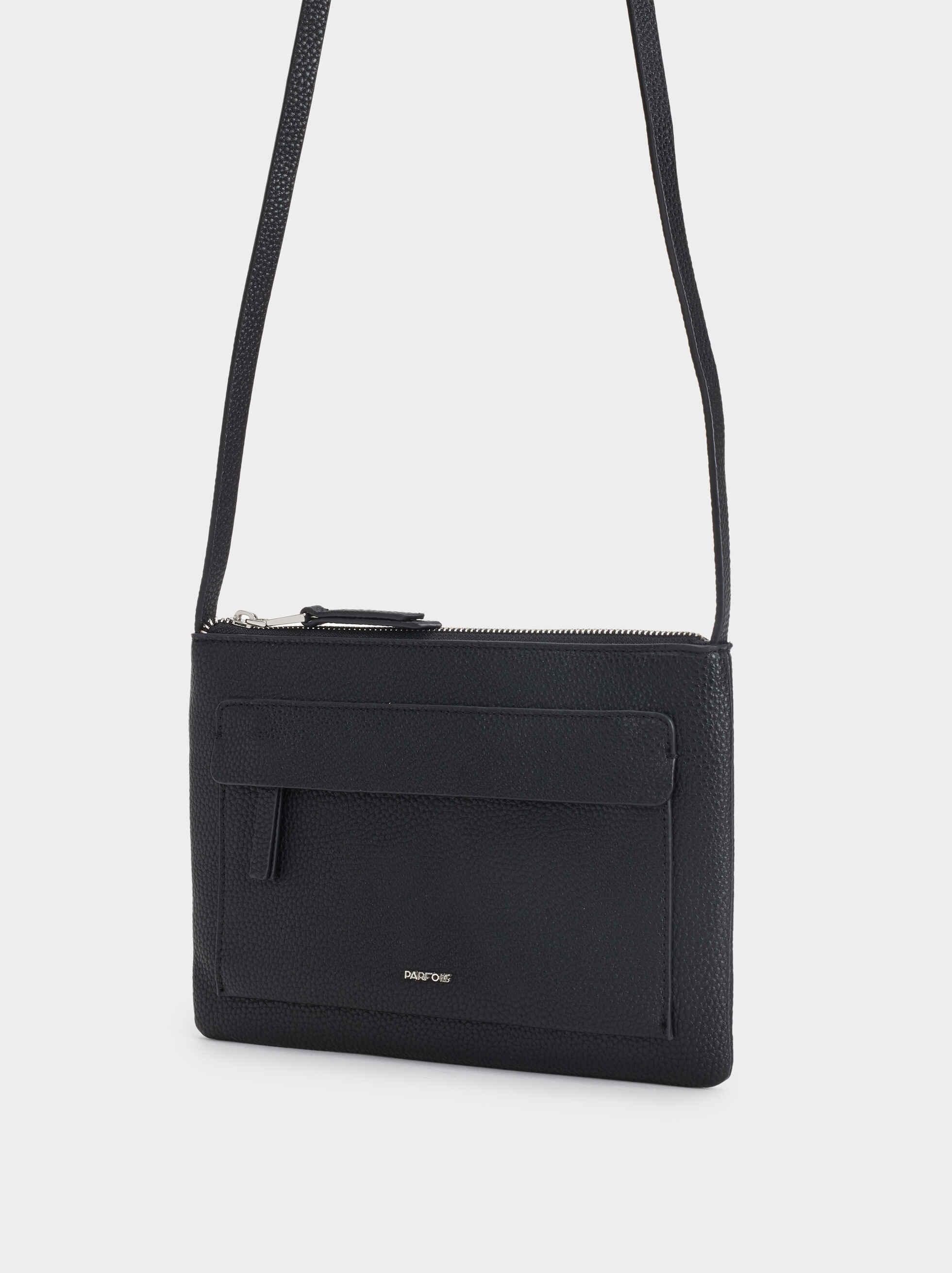 Crossbody Bag With Outer Pocket, Black, hi-res