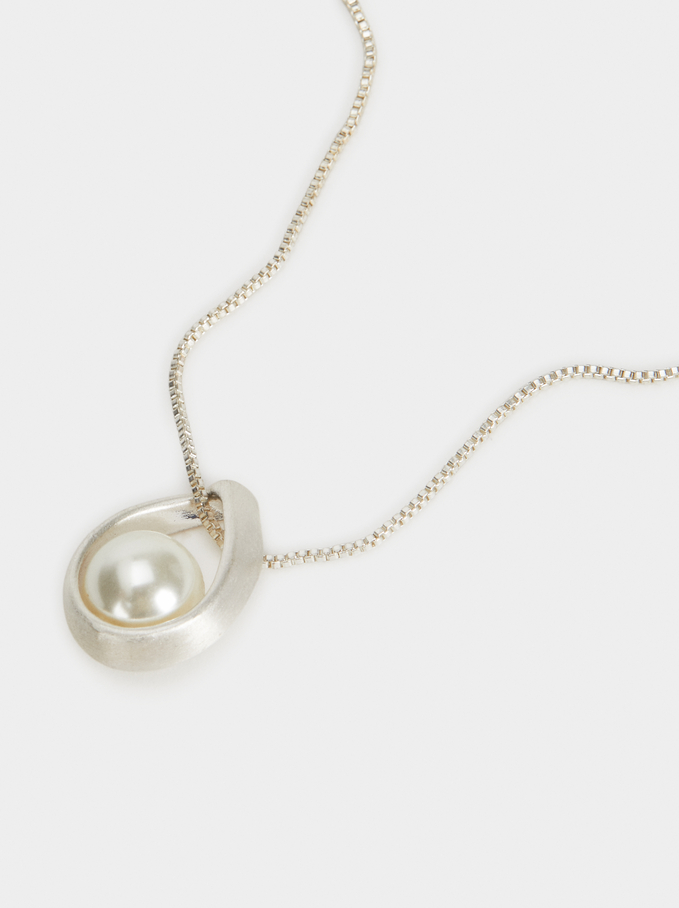 Short Necklace With Faux Pearl Pendant, Silver, hi-res