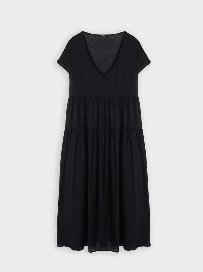 Vestido Escote Pico, Negro, hi-res