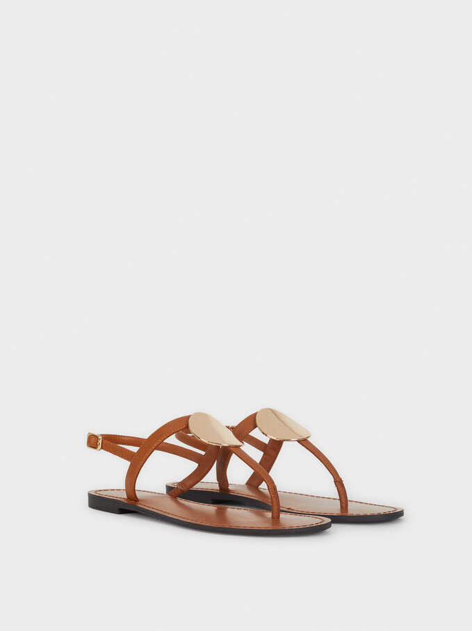Flat Sandals With Metallic Detail, Camel, hi-res
