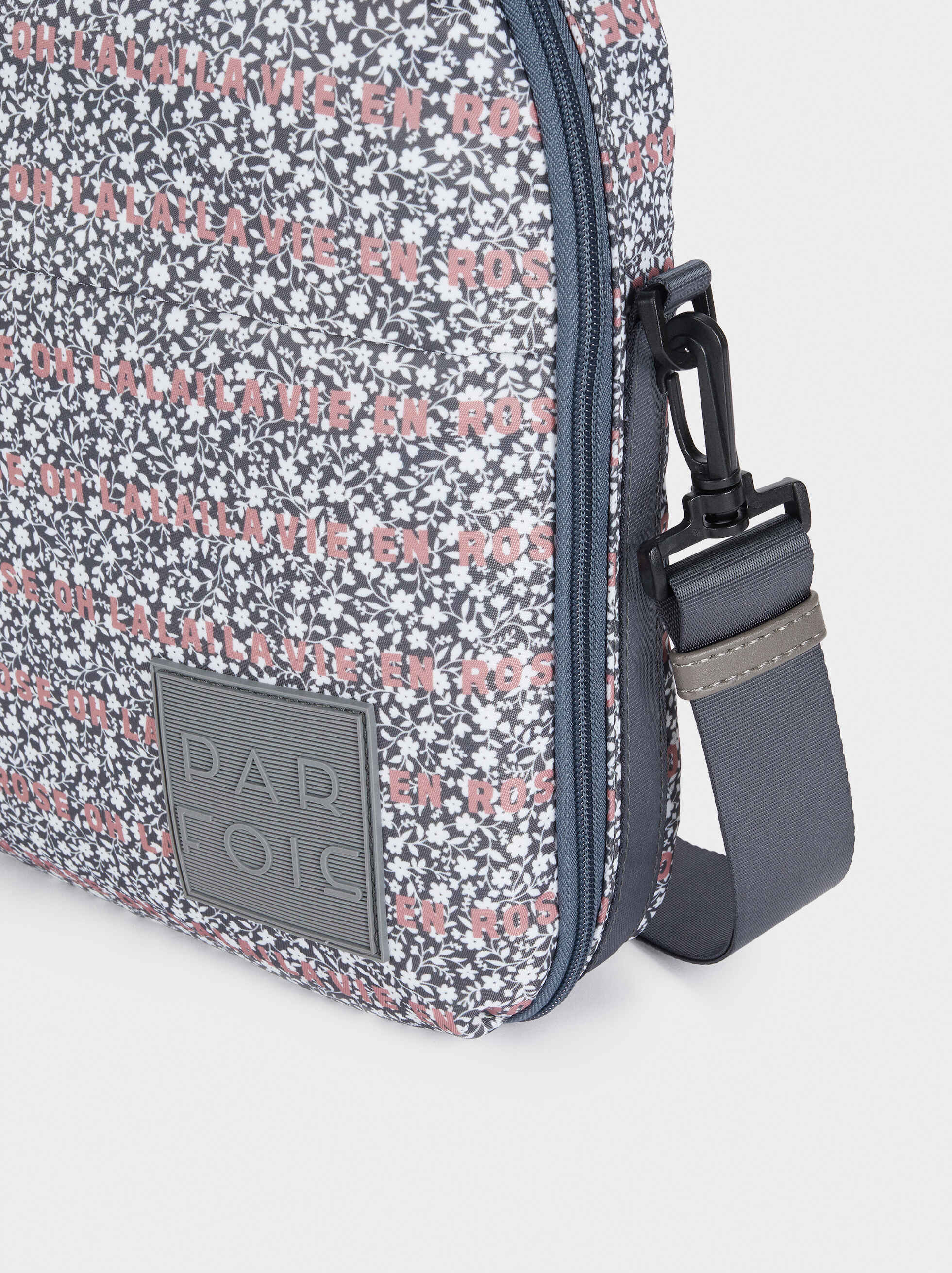 Printed Nylon Briefcase, Grey, hi-res