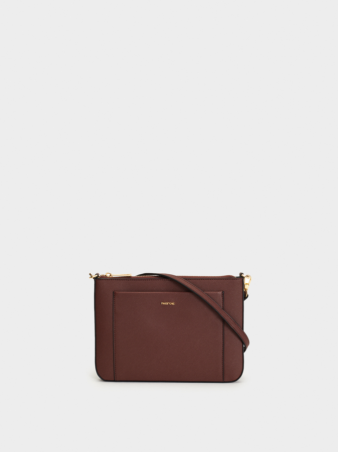 Shoulder Bag With Outer Pocket, Bordeaux, hi-res