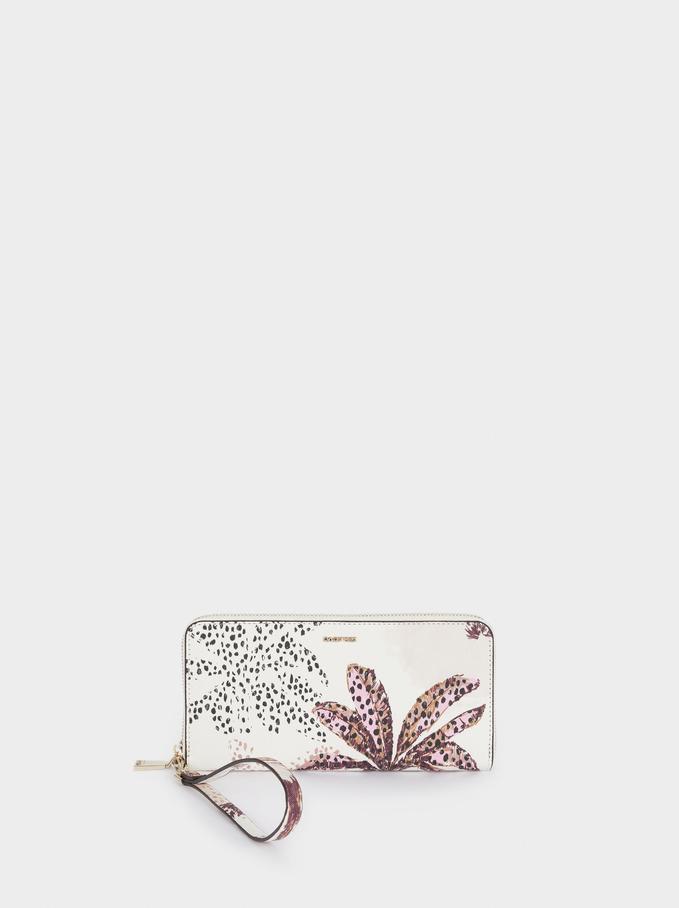 Printed Wallet With Handle, Pink, hi-res