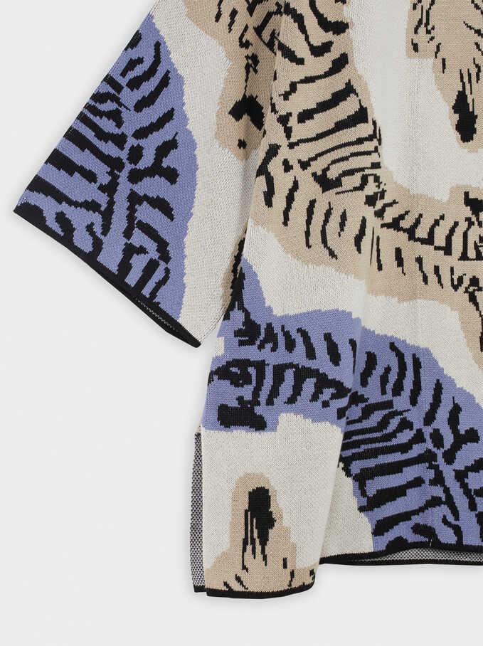 Open Kimono With Animal Print, Blue, hi-res