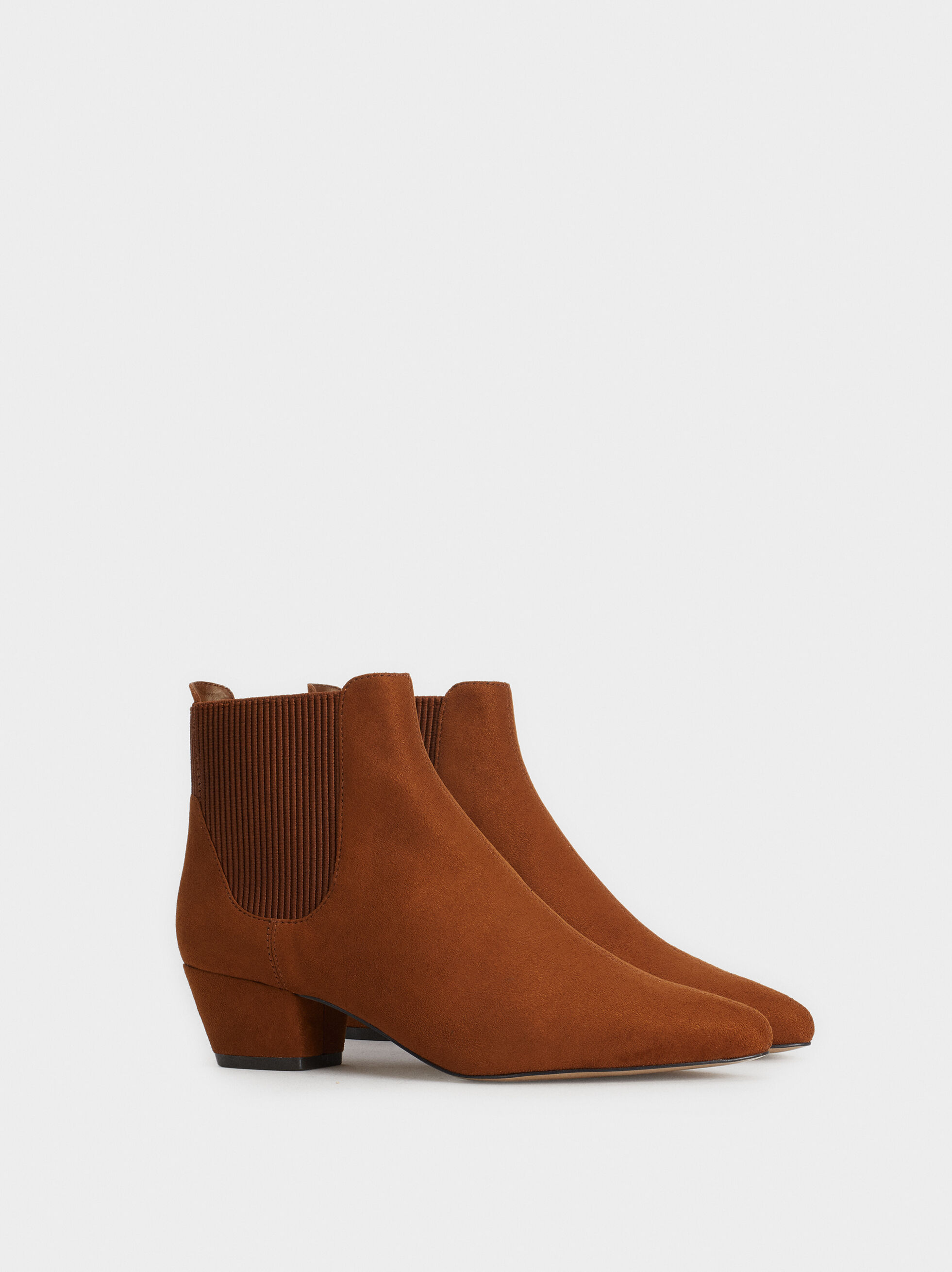 Faux Suede Ankle Boots With Elastic Side Tabs, Camel, hi-res