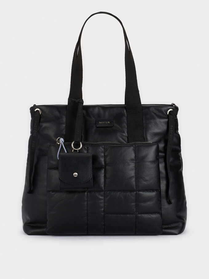 Quilted Tote Bag With Exterior Pocket, Black, hi-res