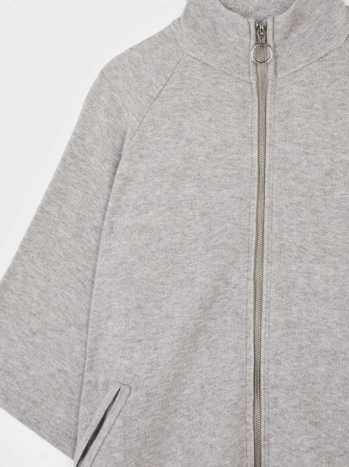 Knitted Zip-Fasten Poncho, Grey, hi-res
