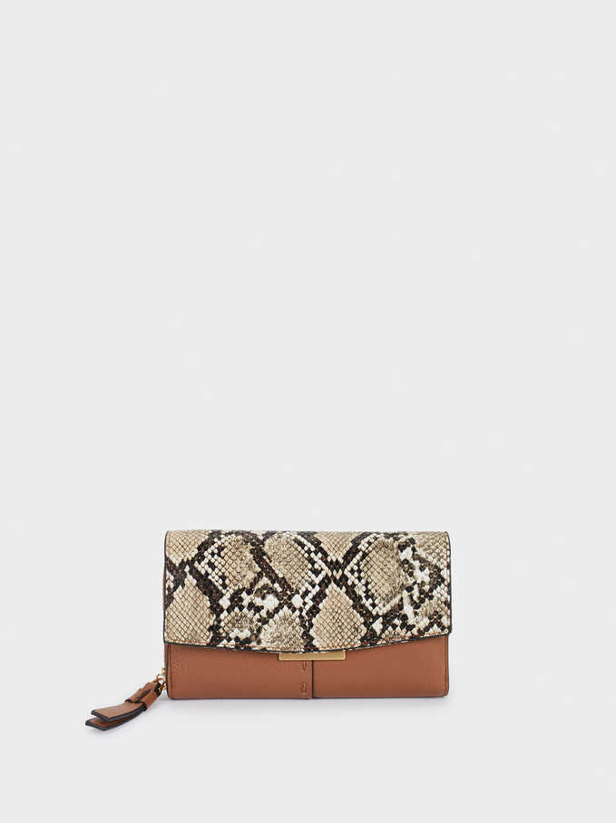 Embossed Snakeskin Print Purse, Camel, hi-res