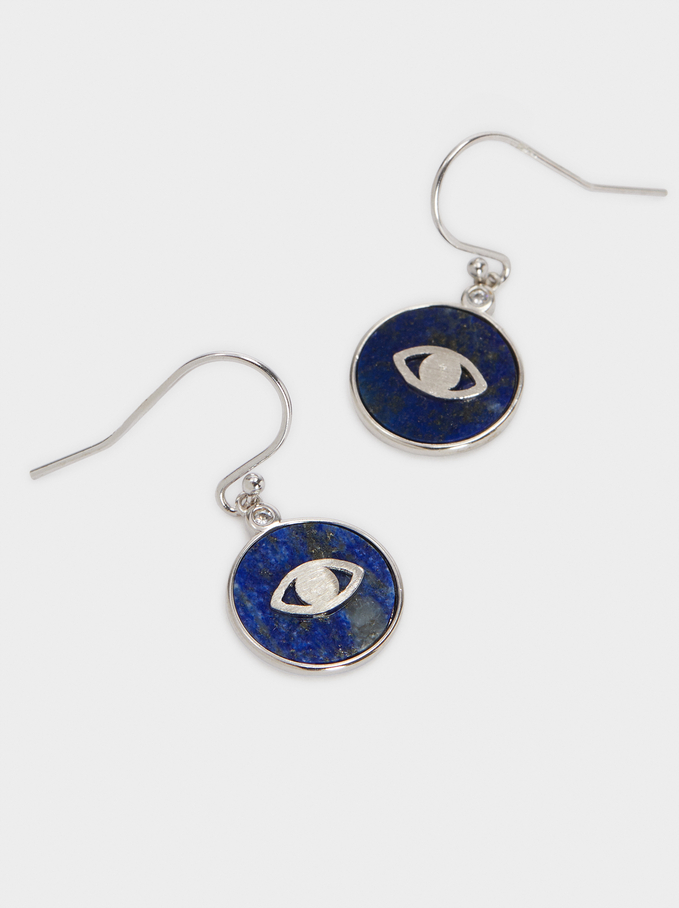 Short 925 Silver Stone And Eye Earrings, Blue, hi-res