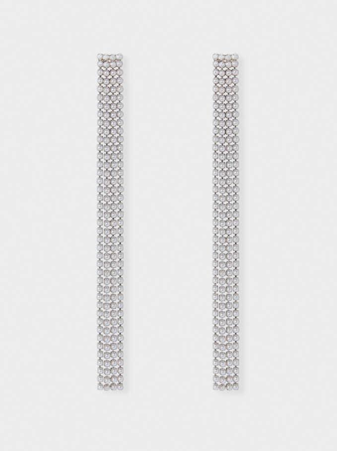 Long Dangle Earrings, Silver, hi-res