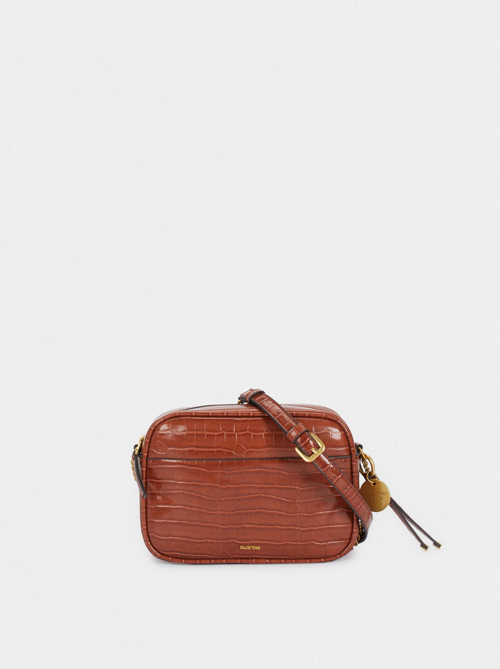 Embossed Animal Print Crossbody Bag With Adjustable Strap, Camel, hi-res