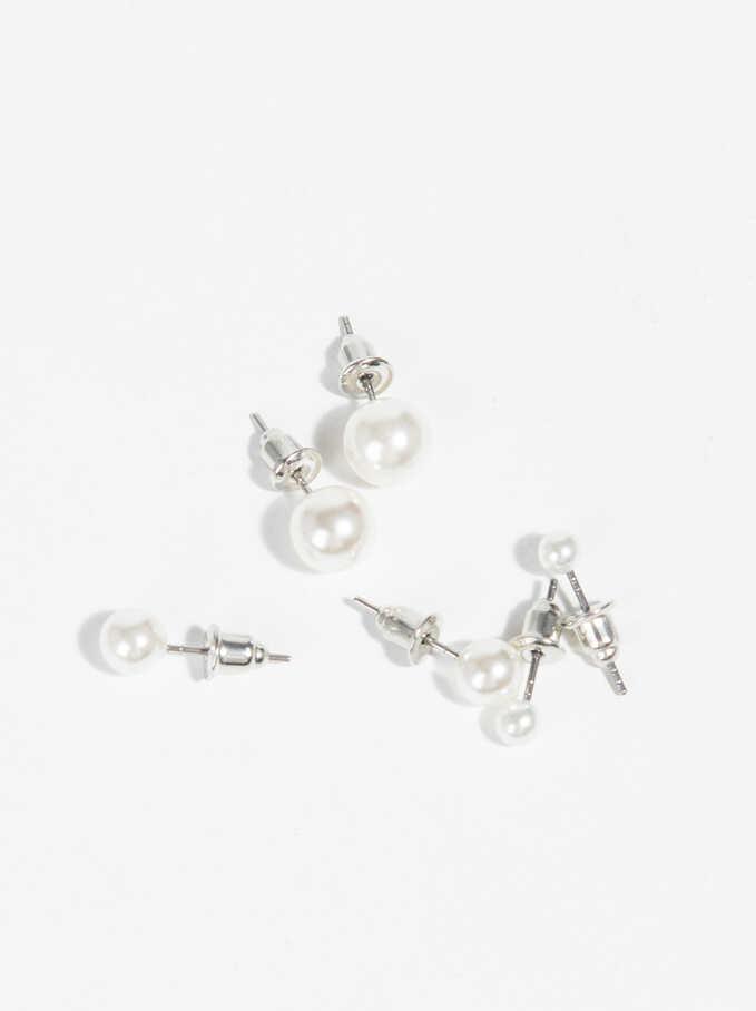 Set Of Small Earrings, Beige, hi-res