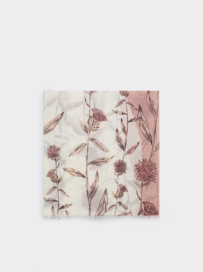 Tuch Mit Blumenprint, Rosa, hi-res