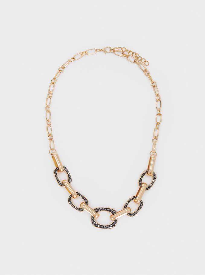 Collar Cadena Corto Con Cristales, Multicor, hi-res