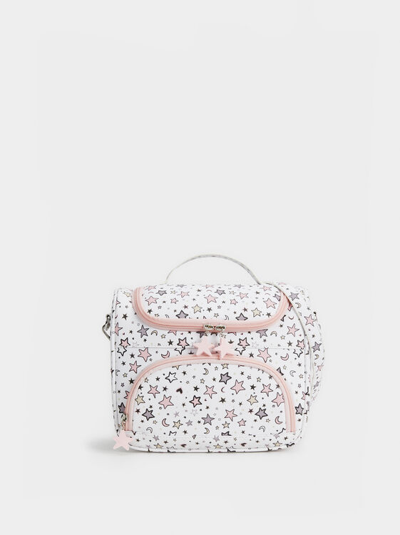 Star Print Lunch Bag, Pink, hi-res