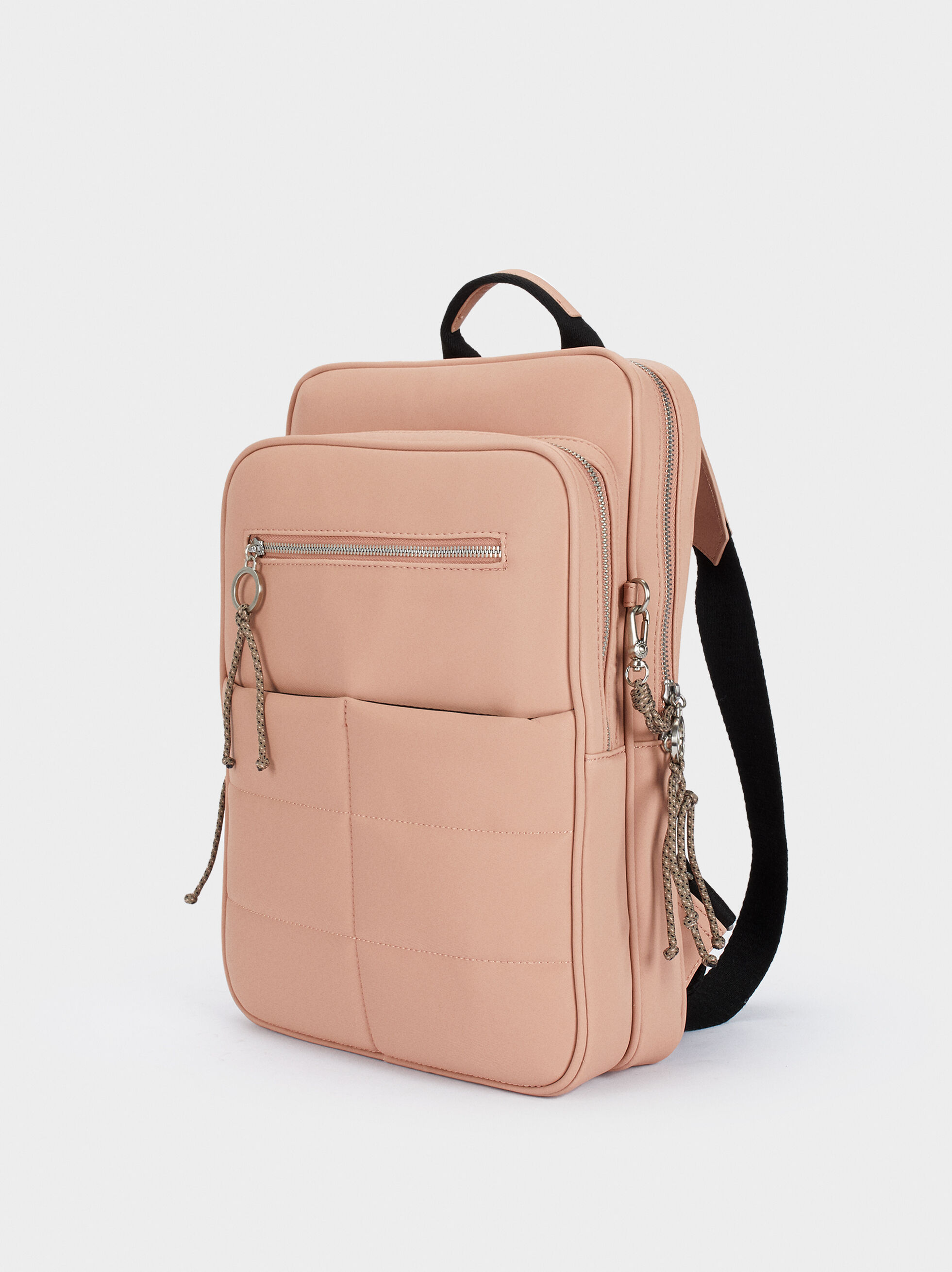 Quilted Backpack With Exterior Pocket, Pink, hi-res