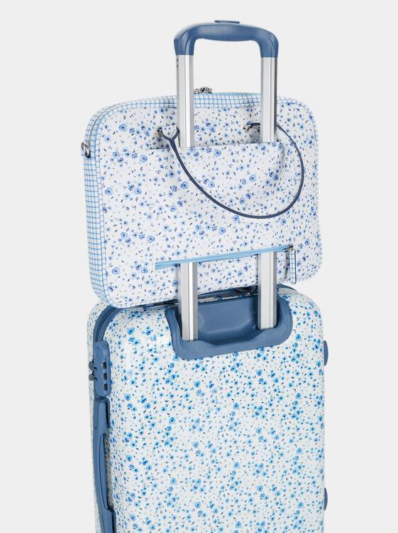 Floral Print Briefcase, Blue, hi-res