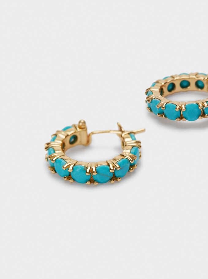 Aros Cortos De Plata 925 Con Piedras, Azul, hi-res