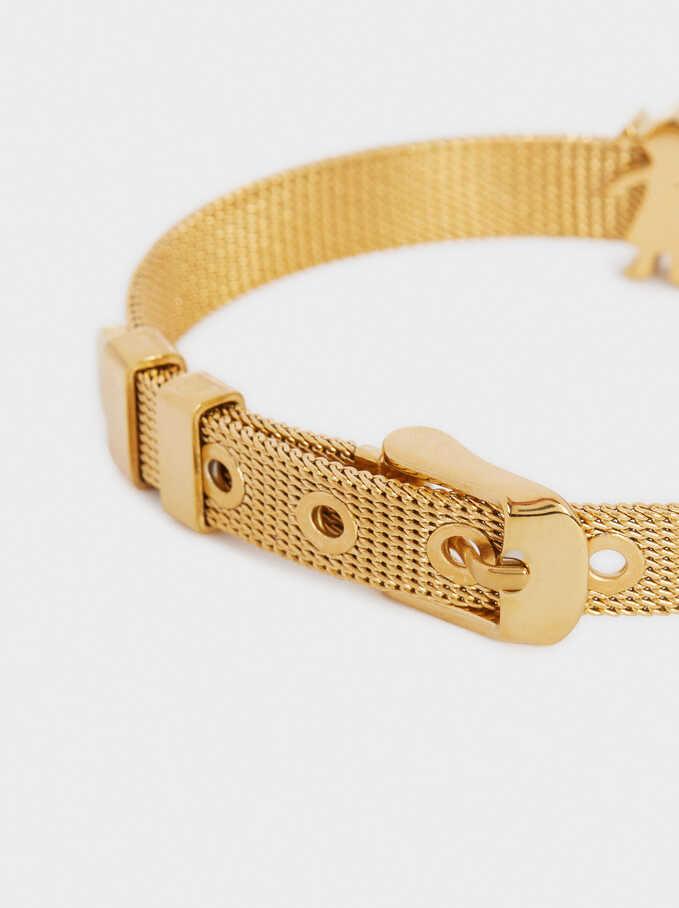 Adjustable Gold Stainless Steel Bracelet, Golden, hi-res