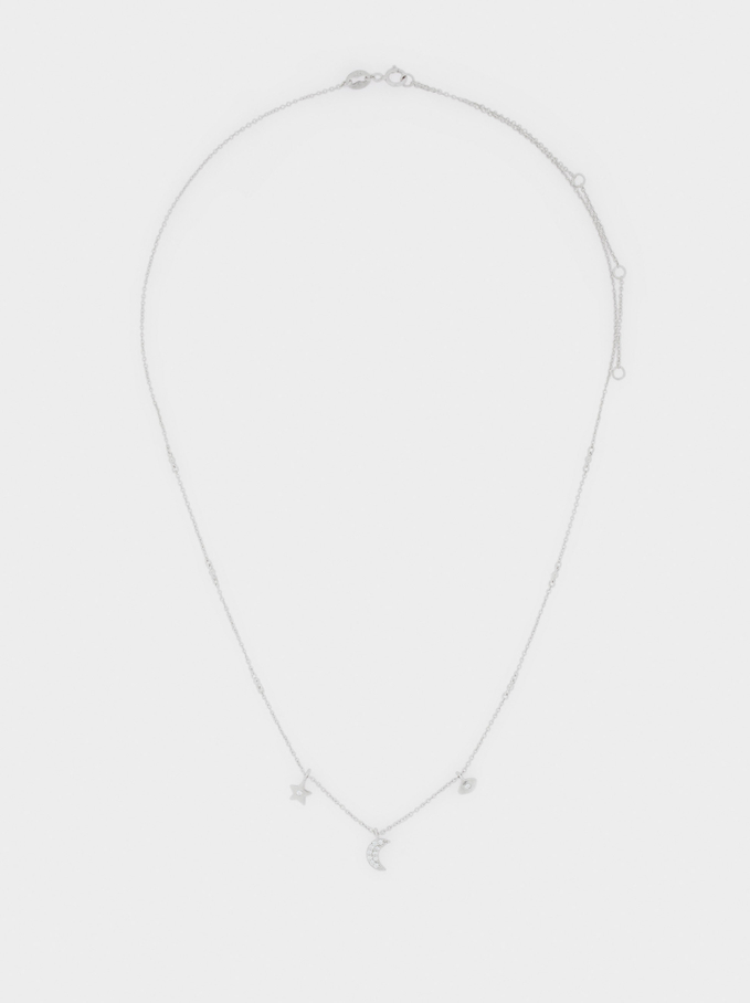 Short Stainless Steel Necklace With Charms, Silver, hi-res