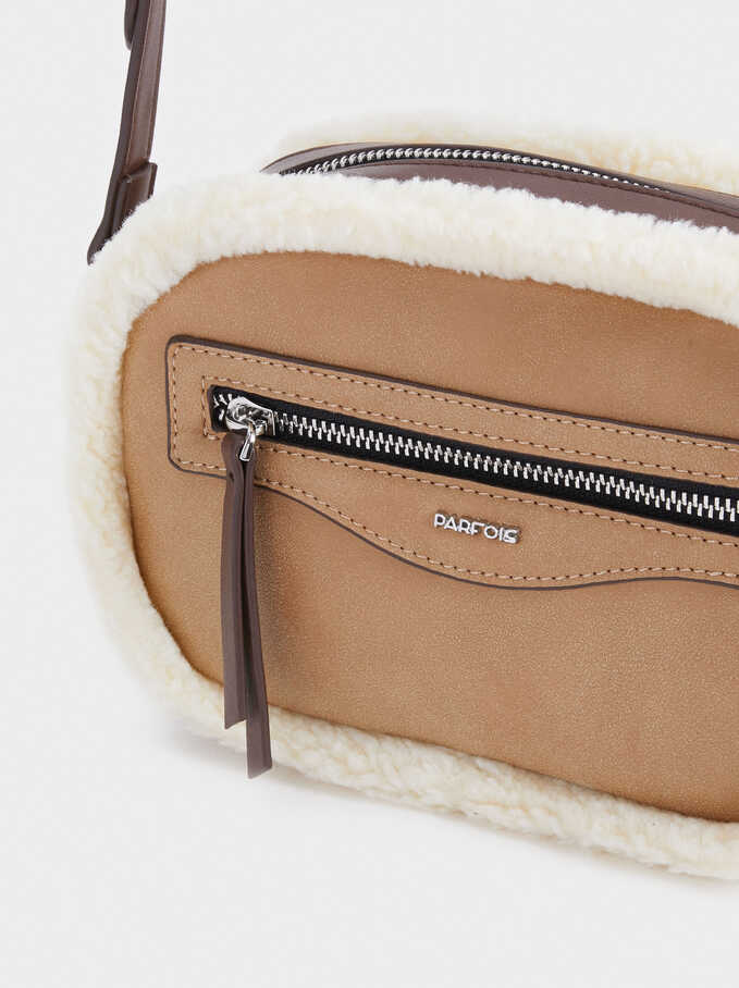 Crossbody Bag With Faux Shearling Detail, Camel, hi-res