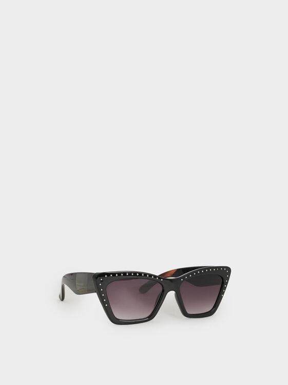 Studded Cat Eye Sunglasses, Black, hi-res