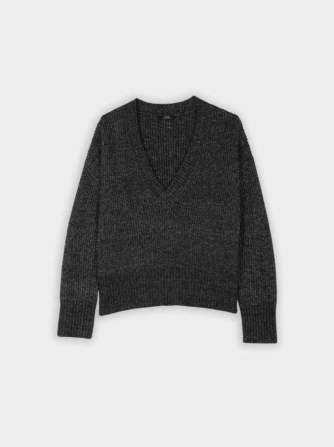 Jersey De Punto Con Cuello Pico, Negro, hi-res