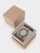 Watch With Metal Detail On The Strap, Beige, hi-res