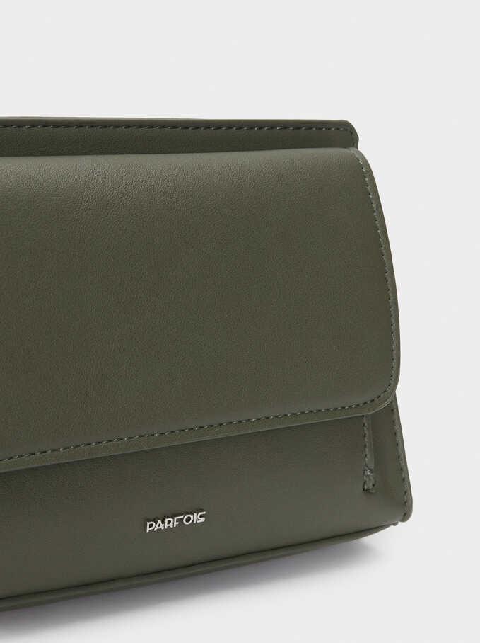 Crossbody Belt Bag With Front Flap Closure, Khaki, hi-res