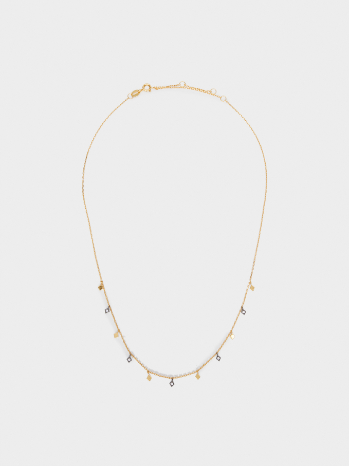 925 Silver Short Necklace With Zirconia, Golden, hi-res