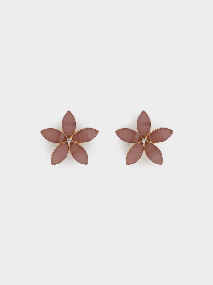 Short Flower Earrings With Crystals, Pink, hi-res