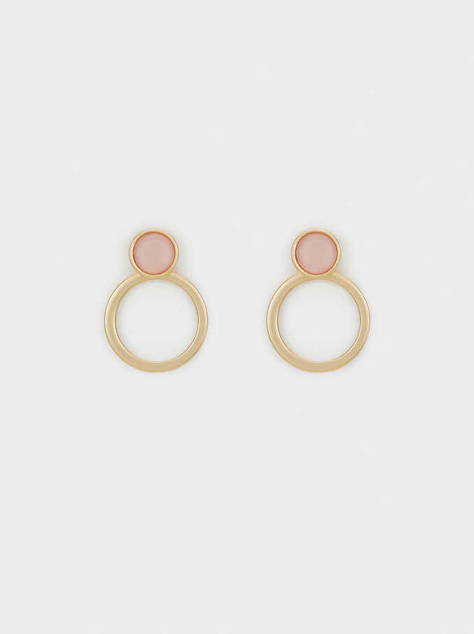 Short Resin Earrings, Pink, hi-res