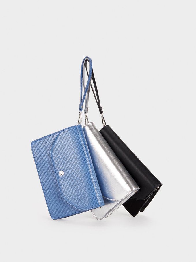 Party Clutch With Handle, Blue, hi-res