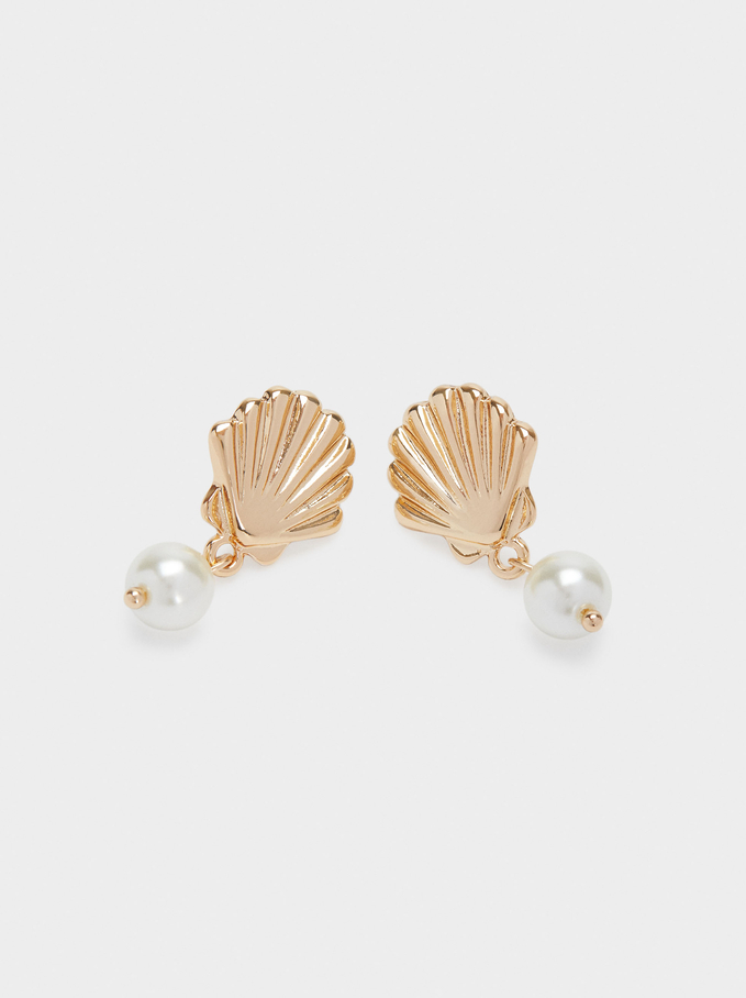 Short Earrings With Shell And Pearl, Golden, hi-res