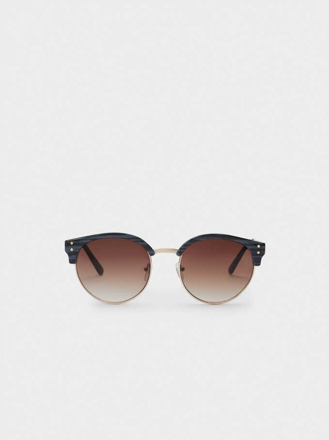 Sunglasses With Round Frames, Navy, hi-res