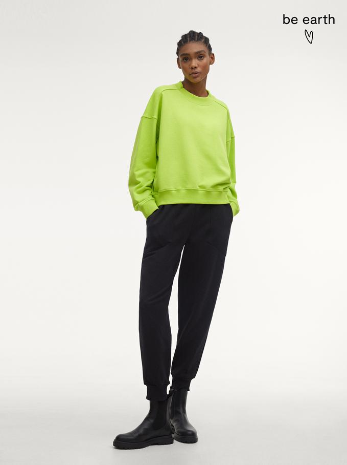 Sweatshirt 100% Coton, Jaune, hi-res