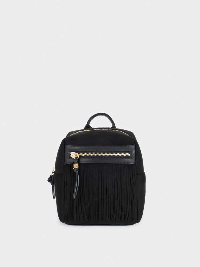 Faux Suede Backpack With Fringe Details, Black, hi-res