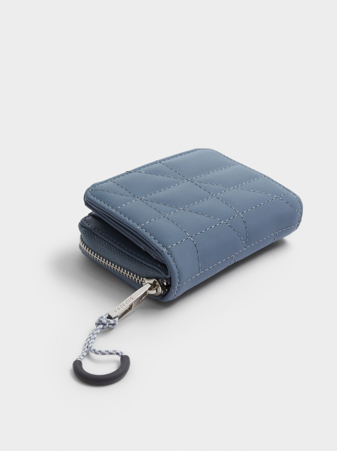 Combined Wallet With Top Stitching, Blue, hi-res