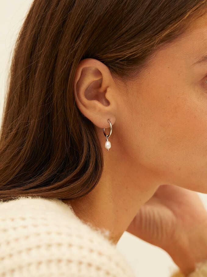 925 Sterling Silver Small Hoop Earrings With Pearl, Beige, hi-res